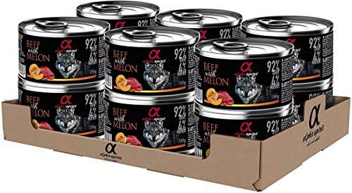ALPHA SPIRIT Alimento Completo Húmedo para Perros Ternera con Melón - Paquete de 12 x 150 gr - Total: 1800 gr ⭐