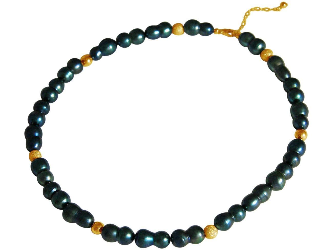 バロック養殖真珠925シルバーとGEMSHINEウィメンズネックレスまたは高品質の金メッキ - タヒチアングリーン。持続可能な、高品質のジュエリー、ドイツ製