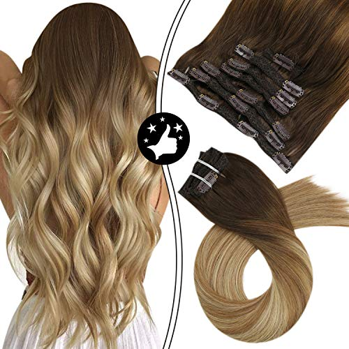 Moresoo 20 Zoll Balayage Remy Echthaar Extensions Clip in Full Head Set Mittel Braun/#4 zu #6 Highlights with Blonde/#24 Double Weft Clip in Extensions Echthaar Ombre Haar 120g/7pcs
