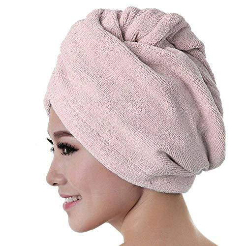 Wrap Cap douche cheveux Douche Cap cheveux Serviette Cap rapide séchage des cheveux épais Serviette Absorbent Douche Cap rapide 60 X 25 cm Serviette Solide Couleur ( Color : Rose , Size : 60 x 25 cm )