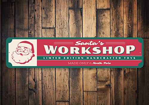 The454esa Santas Workshop, Santa Workshop Sign, Workshop Decor, Christmas Workshop, Decor for Santa, Made in North Pole- Quality Aluminum Holiday Sign