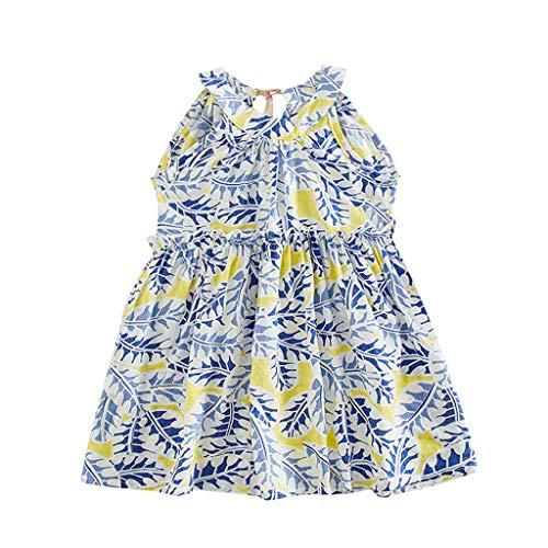 Briskorry Kinder Mädchen Cartoon Druck Rüschenärmel Tunika Prinzessin Party Kleid Sommerkleid Sommer Outfits