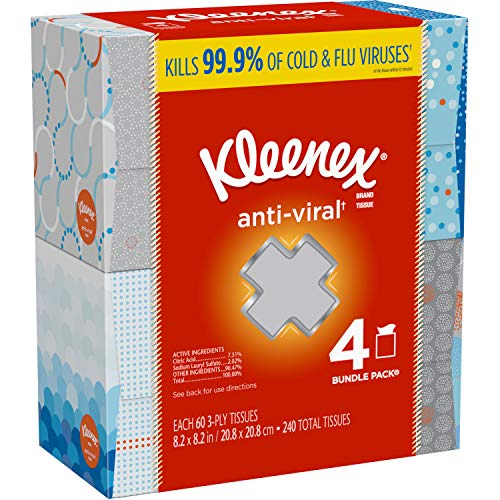Kleenex AntiViral Facial Tissues 3 Ply  820quot x 820quot  White 60 Sheets Per Box  4 Boxes Per Pack