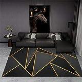 Alfombra Figura geométrica Negra Dorada Alfombra De Pelo Corto Alfombra De Salón Moderna Alfombra Salón Home Alfombra Diseño 3D para Interior tamaño:160x230 cm