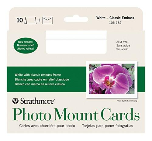 Strathmore str-105–250weiß Bilderrahmen (40Pack) Passepartout, klassisch, mit geprägtem Rand 10 Cards & Envelopes weiß
