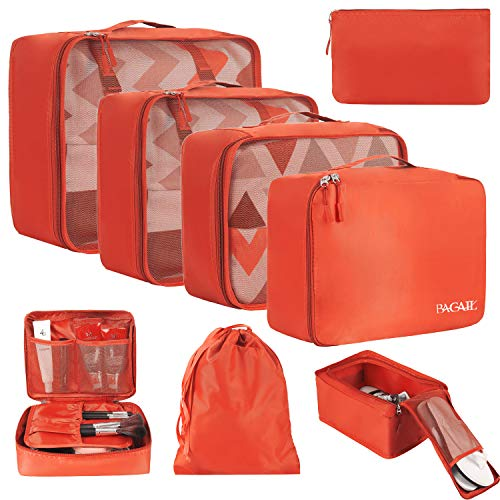 BAGAIL 8 Set Packing Cubes, Lightweight Travel Luggage Organizers with Shoe Bag, Toiletry Bag & Laundry Bag Red
