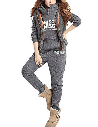 M-Queen Damen Casual Sportanzug Jogginganzug Sweatshirt+Sporthose+Weste Einfarbig Kapuzenpullover Mit Kapuzen Trainingsanzug Kapuzenjacke, Grau, Gr. M