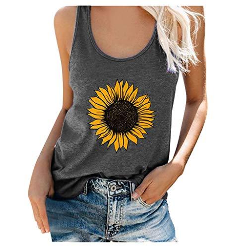LODDD Summer Women Plus Size Sunflower Print Vest Fashion Round Neck Sleeveless Loose T-Shirt Top Tank