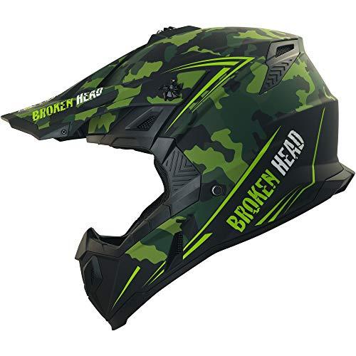 Broken Head Squadron Rebelution - Motorrad-Helm Für MX, Motocross, Sumo - Der Szene Marken-Helm - Camouflage - Größe S (55-56 cm)