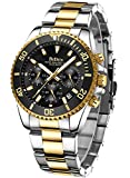 Mens Watches Chronograph Black Gold Stainless...