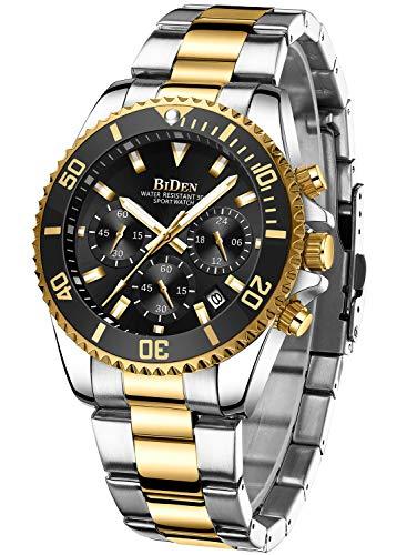 Herren Uhr Männer Chronographen Gold Edelstahl Wasserdicht Designer Armbanduhr Herren Militär Großes Leuchtende Analog Datum Business Uhr für Herren