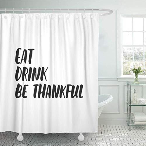 NISENASU Duschvorhänge Essen Trinken Seien Sie dankbar Herbst Jahreszeiten Thanksgiving Holiday Schriftzug Phrase The Fun Brush Ink Wasserdicht Bad Vorhang Polyester Stoff mit 12 Haken 180x180 cm