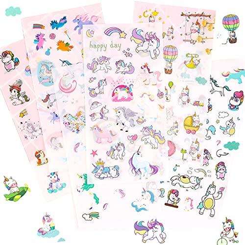 Scrapbook Stickers,Einhorn Scrapbooking,PVC Sticker Fotoalbum Kinder Ideal Zum DIY Deko für Kalender Wasserbecher USW,Sticker Einhorn,150+ Motive,17,4cm x 9,cm