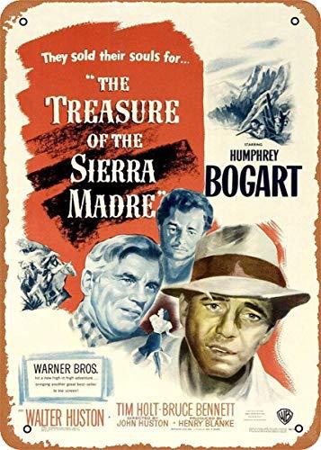 LILILILI BEFULL - Póster de la película The Treasure of The Sierra Madre (metal, resistente al agua, para decoración del hogar, 12 x 8 pulgadas)
