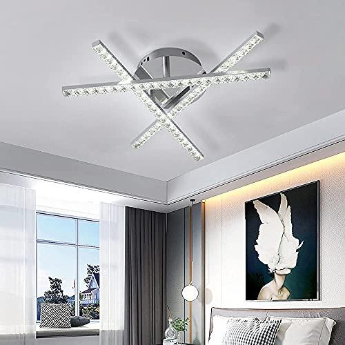 Lámpara de Techo de Cristal con 3 luces, 18W Plafon LED Techo Moderno, Luz blanca fría 6000K, Lámpara de Araña Moderna Iluminación de Techo para Salón Dormitorio Comedor Pasillo