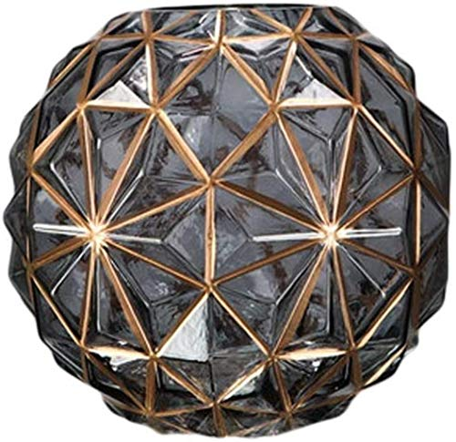 YONGYONGCHONG Jarrón de cristal hecho a mano dorado Stroke transparente salón dormitorio decoración (19 x 18 cm) Jar