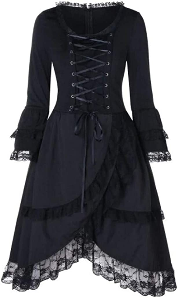 Auiyut Steampunk Damen Mantel Gothic Long Coat Frauen Vintage Langärmelige Taille Rücken Bandage Lace Stitching Jacke Retro Eleganter Smoking-Blazer Uniform Outwear B-schwarz