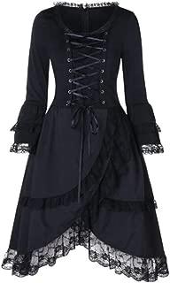 Goutique Dress for Women Plus Size,Vintage Black Steampunk Gothic Lace Victorian Ruffled Layering Mini Dress