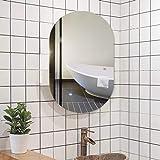WWWRL Espejo De Pared Ovalado para Baño, Espejo Cosmético Sin Marco HD Espejo Decorativo para Colgar En La Pared, Autoadhesivo, para Baño, Tocador, Dormitorio, Decoración del Hogar