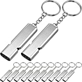 10 Pieces Emergency Whistles Safety Survival Whistles High Pitch Double Tubes Metal Whistle for Outdoor Camping Hiking Boating Hunting Fishing (Silver)