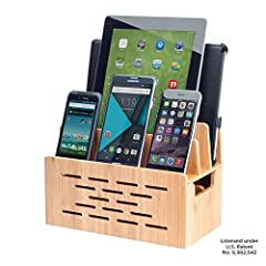 MobileVision Bamboo Universal Multi-Device Charging Organizer with Bluetooth Speaker Cutout combines charging needs with entertainment. MobileVision introduces a stand designed to complement a small portable Bluetooth audio device (such as the DKnigh...