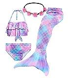 WOPLAY Lestore 4Pcs Girls Swimsuits Mermaid Tail Swimming Bikini Swimsuit Suit Girl Birthday Gift 3-12 Years(No Monofin) (DH101-P, 7-8 Years)