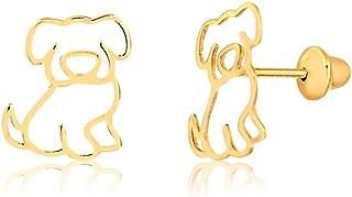 gold dog earrings
