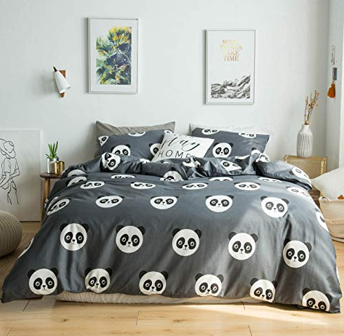 YuHeGuoJi 3 Pieces Duvet Cover Set Queen Size 100% Cotton Grey Giant Panda Bedding Set 1 Cute Animals Pattern Duvet Cover with Zipper Ties 2 Pillowcases Luxurious Quality Soft Breathable Comfortable