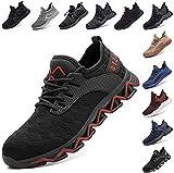Zapatos De Seguridad para Hombre con Puntera De Acero Mujer Calzado De Trabajo Zapatos De Deportivos Transpirables Construcción Botas Trekking Negro Azul Gris Verde Rosa 36-48 EU Rojo 42