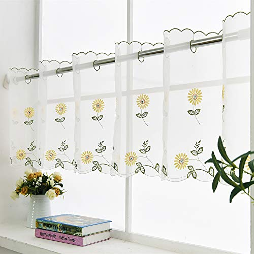 """ZHH Handmade Daisy Valances for Window Embroidery Pastoral Style Cafe Curtain Valance Sheer Floral Kitchen Valances 1 Panel(70"""" W x 17"""" H, Yellow)"""