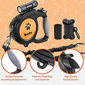 Dual Retractable Dog Leash - 26ft Heavy Duty Double-Head Lockable Extendable Pet Leash with LED Flashlight, Poop Bags, Reflective Elastic Rope - 360° Tangle-Free for Dogs Walking, Up to 110 lbs
