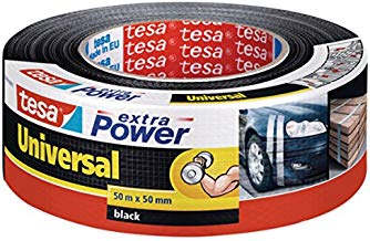tesa extra Power Universal - Gewebeverstärktes Folienband zum Reparieren, Befestigen, Bündeln, Verstärken oder Abdichten, Schwarz, 50 m x 50 mm