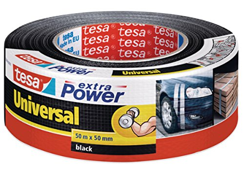 Tesa Extra Power Universal - Cinta Adhesiva, color Negro, 50 m x 50 mm