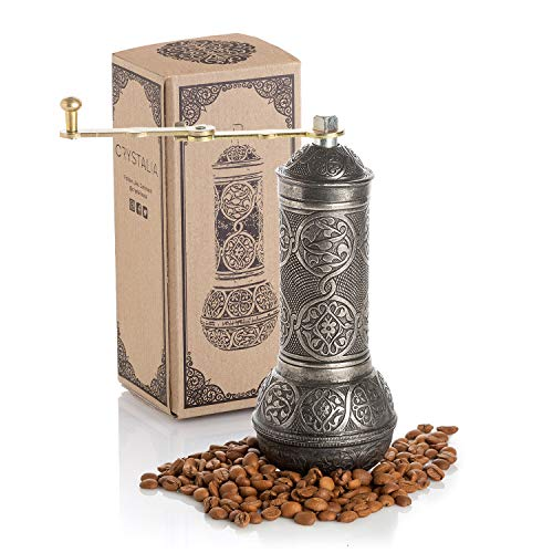Coffee Grinder, Refillable Turkish Style Mill with Adjustable Grinder, Manual Coffee Mill with Handle, Antique Grinder Metal with Hand Crank, Adjustable Coarseness (Dark Silver)