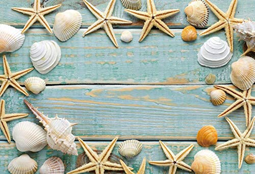 Summer Tropical Sea Beach Sand Starfish Shell Coral Palms Tree Child Holiday Photo Background Photography A3 2.7x1.8m