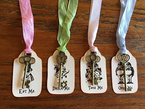 Alice in Wonderland 12 eat me, drink me, take me, open me party tags with bronze keys