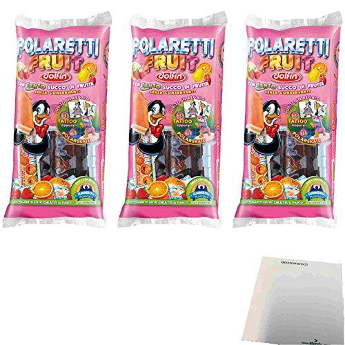 Dolfin Polaretti Fruit Con Tanto Succo Di Frutta 3er Pack (30x40ml Wassereis mit Fruchtsaft) + usy Block