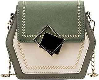 TOOGOO Scrub Leather Crossbody Bags for Women Small Hexagon Shoulder Messenger Bag Phone Purses Green