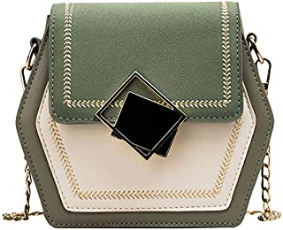 TOOGOO Scrub Leather Crossbody Bags for Women Small Hexagon Shoulder Messenger Bag Phone Purses Green