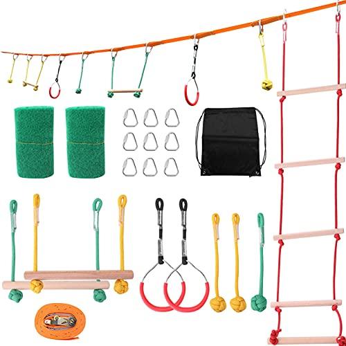 Roeam Slackline Set für Kinder, Gerten Hinderniskurs Klettern Spiele, Maximale Tragfähigkeit 250 Pfund, Förderung der körperlichen Koordination von Kindern