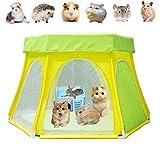 Bingoo Jaula de animales pequeña tienda de campaña, parque de juegos portátil al aire libre, valla de patio con cubierta superior, plegable, antiescape, para perro, gato, conejo, hámster, jerbo