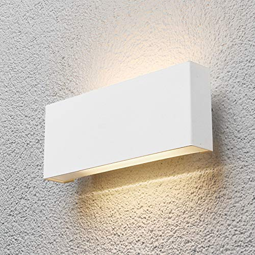Lindby LED Wandleuchte außen 'Safira' (spritzwassergeschützt) (Modern) in Weiß aus Aluminium (2 flammig, A+, inkl. Leuchtmittel) - LED-Außenwandleuchten Wandlampe, Led Außenlampe, Outdoor Wandlampe