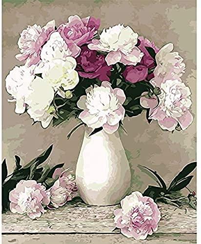 NC88 Dibujo por numeración Pintura de Flores por número Casa Dormitorio Decoración de la Pared Obra de Arte Pintura al óleo DIY Lienzo Digital Acrílico Pintado para niños
