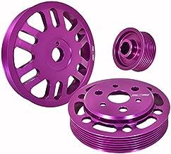 3Pcs Crank Alternator Water Pump Pulley Purple For Toyota Gt86 Scion Frs Subaru Brz