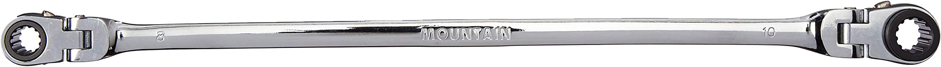 Mountain 8x10mm Double Box Universal Spline Reversible Ratcheting Wrench; 90 Tooth Design, Long, Flexible, Reversible; MTNRM810