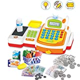 deAO Caja Registradora Electrónica de Juguete con Escáner, Micrófono, Cinta y Lector de Tarjetas Conjunto de Accesorios de Tienda y Supermercado Infantil Incluye Alimentos de Juguete (Amarilla)