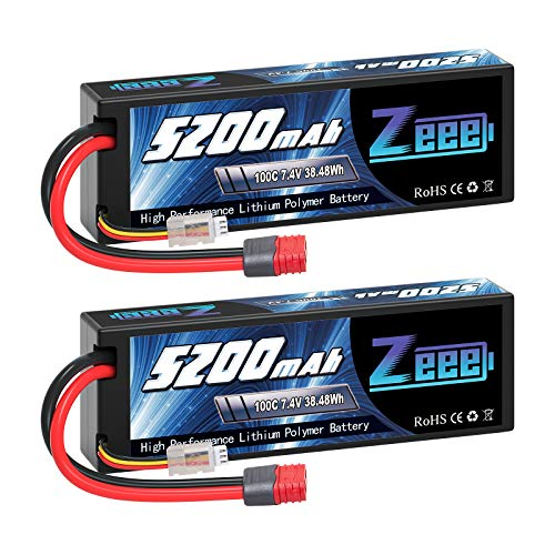 Zeee 7.4V Lipo Battery 2S 5200mAh 100C Hard Case Battery Deans T Plug with Housing for 1/8 1/10 RC Vehicles Car X-Maxx RC Buggy Truggy RC Airplane UAV Drone(2 Pack)