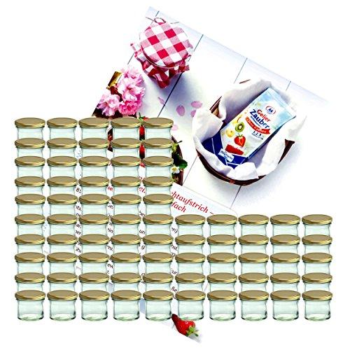 MamboCat 75er Set Sturzglas 125 ml Marmeladenglas Einmachglas Einweckglas to 66 Goldener Deckel incl. Diamant-Zucker Gelierzauber Rezeptheft
