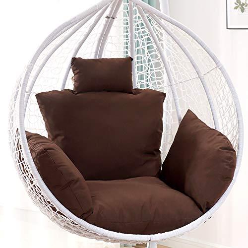 Cojín de mimbre para silla de huevo, antideslizante, para jardín, interior, patio, patio, césped, café