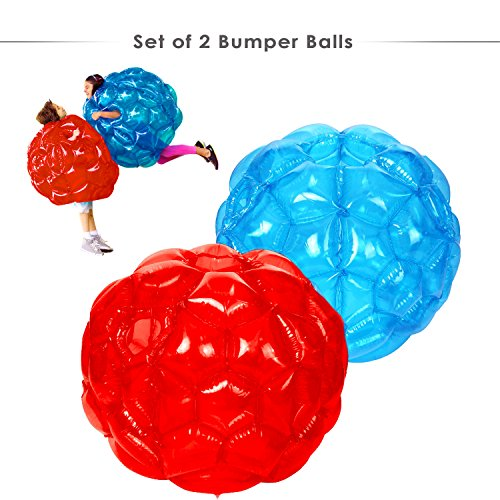 HW 2 Pack Bumper Ball 36'' Zorb Balls Inflatable Bubble Soccer Ball for Adults and Kids (Blue and Red)